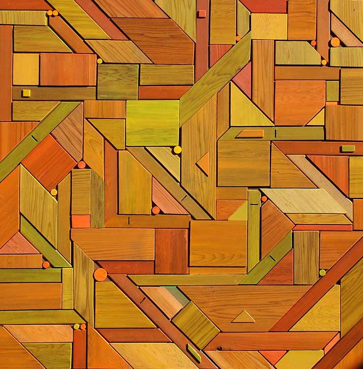 jigsaw contemporary abstract geometric bas-relief wall sculpture