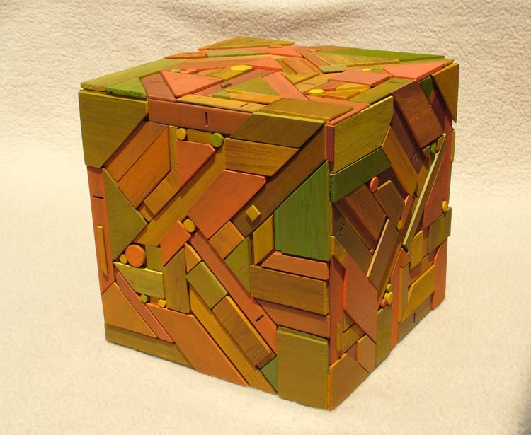 geometric timber magic cube sculpture for sale