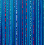 encoded contemporary original blue abstract acrylic artwork