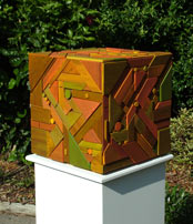 geometric timber magic cube abstract sculpture recycled timbers