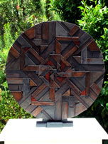 geometric timber mandala sculpture moon side
