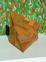geometric recycled timber sculpture