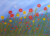 red yellow contemporary flowers painting